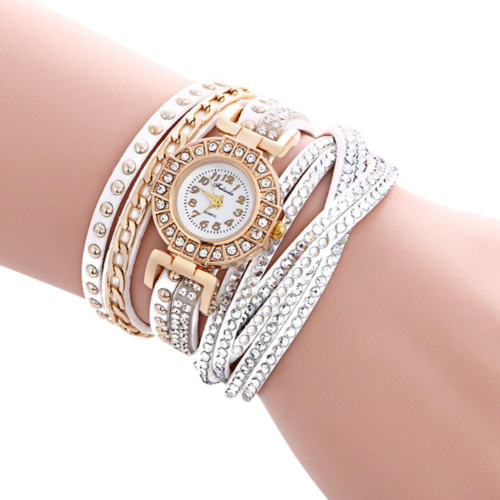 Fulaida Quartz Leather Band Female Rhinestone Watch  Fashion Bracelet Wristwatch - WHITE