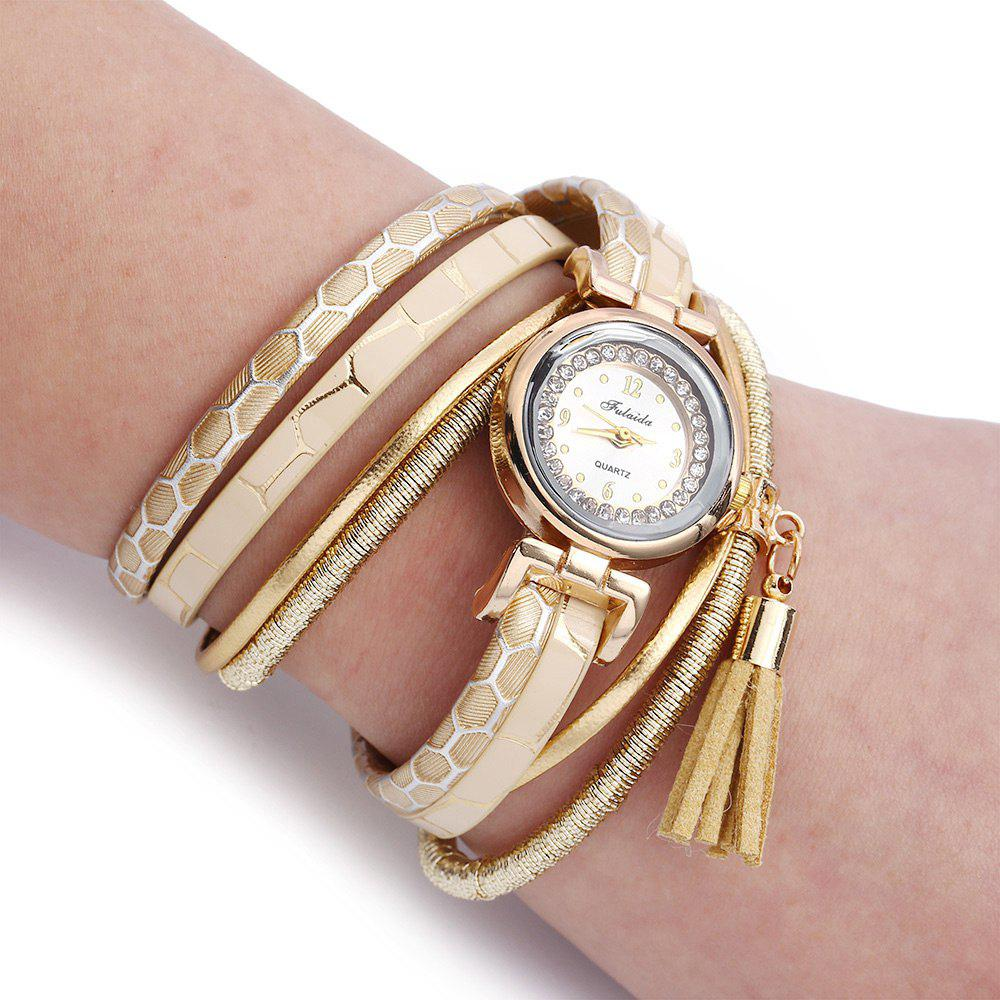 FULAIDA Women Quartz Watch Rhinestone Tassel Decoration Leather Band Wristwatch - GOLDEN