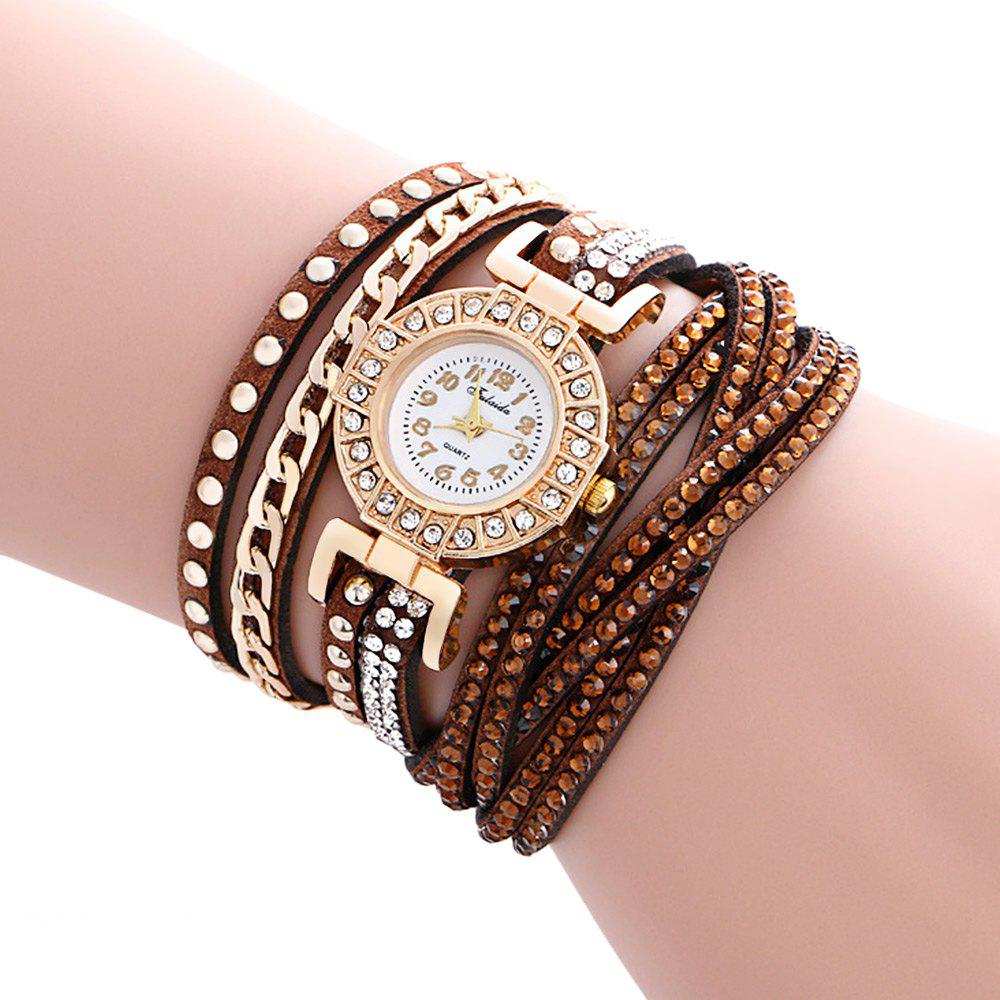 Fulaida Quartz Leather Band Female Rhinestone Watch Fashion Bracelet Wristwatch, Coffee