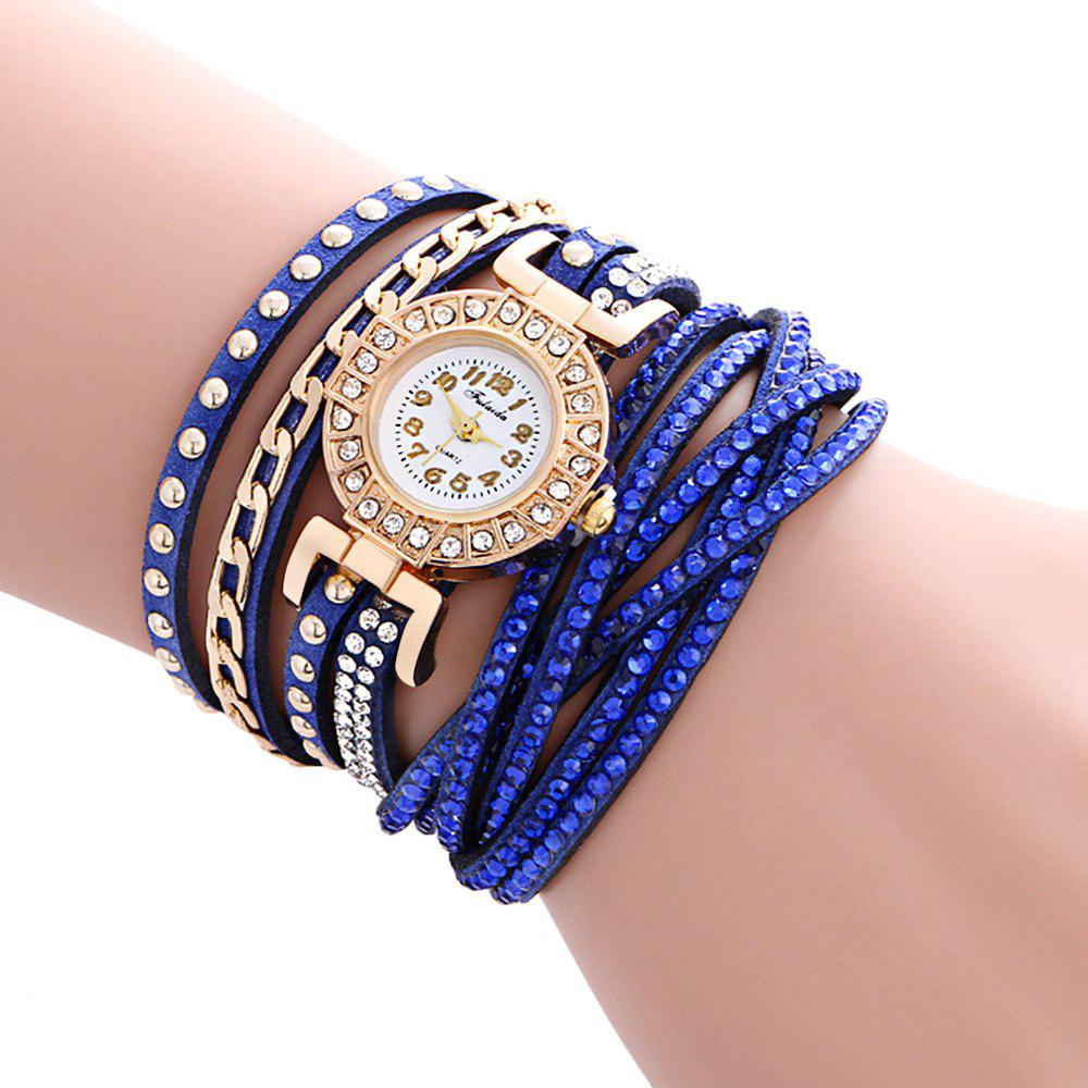 Fulaida Quartz Leather Band Female Rhinestone Watch  Fashion Bracelet Wristwatch - SAPPHIRE BLUE