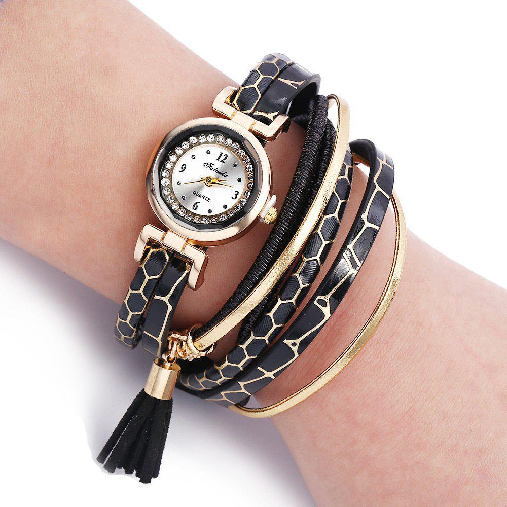 FULAIDA Women Quartz Watch Rhinestone Tassel Decoration Leather Band Wristwatch - BLACK