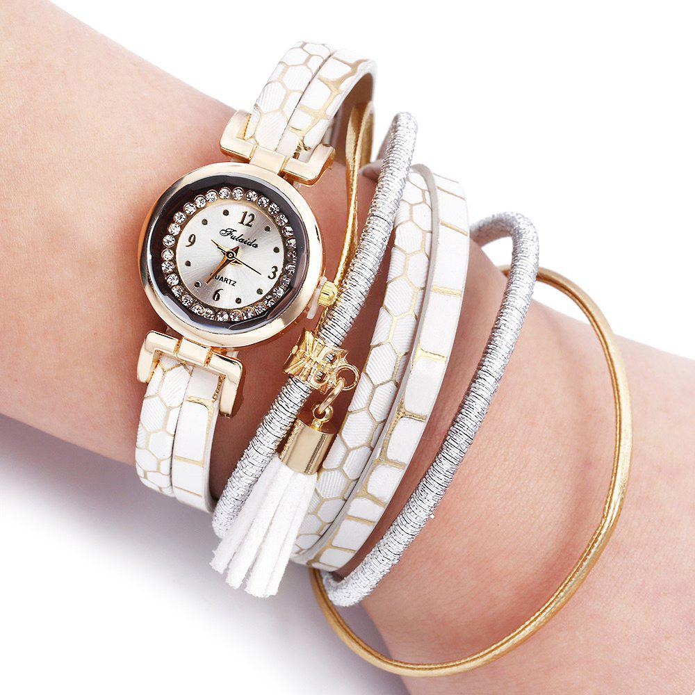 FULAIDA Women Quartz Watch Rhinestone Tassel Decoration Leather Band Wristwatch - WHITE