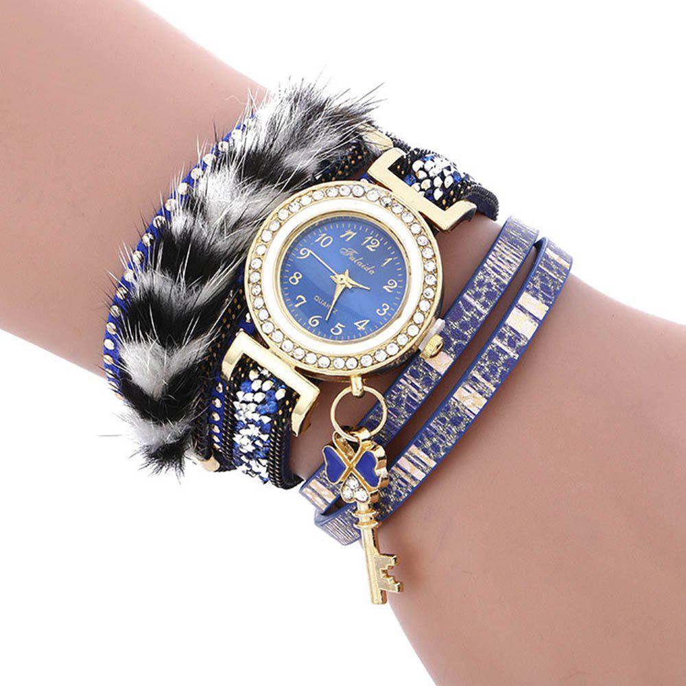 FULAIDA Female Quartz Watch Feather Band Fashion Bangle Wristwatch, Blue