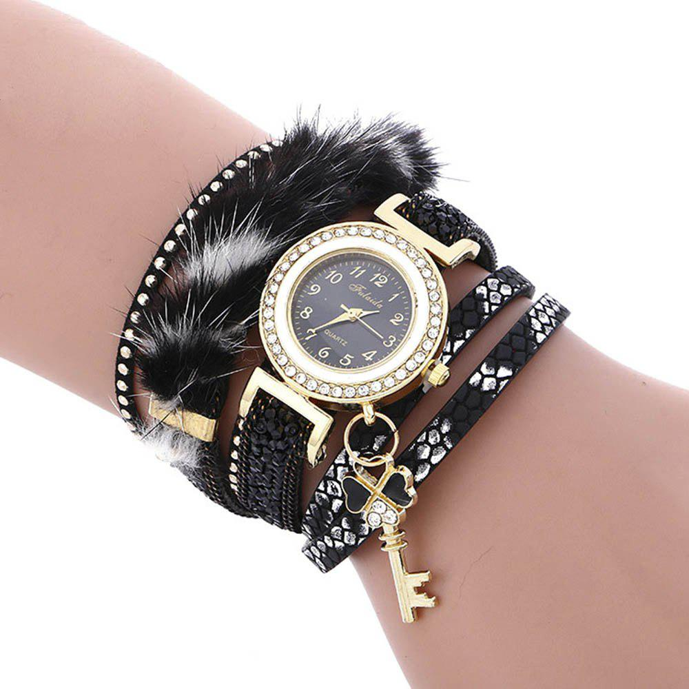 FULAIDA Female Quartz Watch Feather Band Fashion Bangle Wristwatch, Black