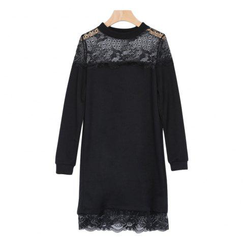 Sexy Stand Collar Long Sleeve Lace Spliced Knitted Women Dress - BLACK 2XL