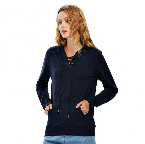 Female Autumn Casual Solid Color Lace-up Hooded Pullover Sweatshirt - NAVY BLUE XL