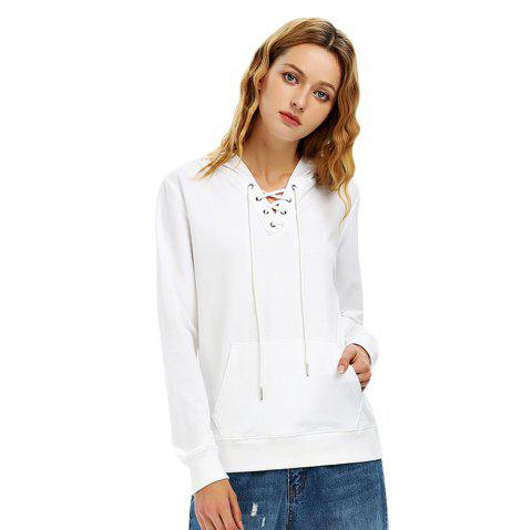 Female Autumn Casual Solid Color Lace-up Hooded Pullover Sweatshirt - WHITE M