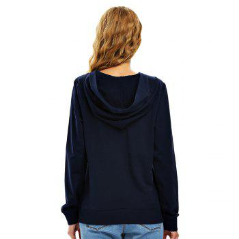 Female Autumn Casual Solid Color Lace-up Hooded Pullover Sweatshirt - NAVY BLUE NAVY BLUE