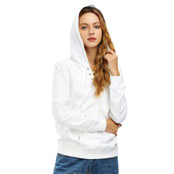 Female Autumn Casual Solid Color Lace-up Hooded Pullover Sweatshirt - WHITE WHITE