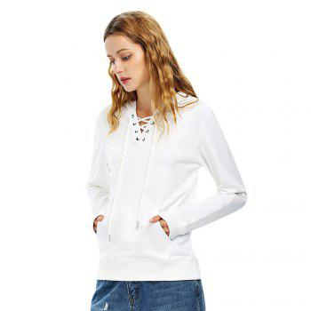 Female Autumn Casual Solid Color Lace-up Hooded Pullover Sweatshirt - WHITE L