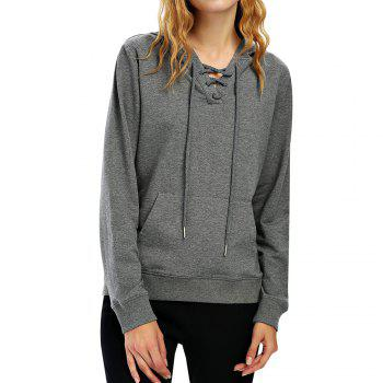 Female Autumn Casual Solid Color Lace-up Hooded Pullover Sweatshirt - DARK HEATHER GRAY DARK HEATHER GRAY