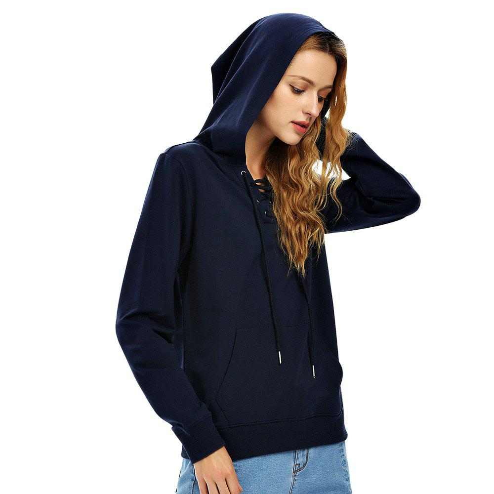 Female Autumn Casual Solid Color Lace-up Hooded Pullover Sweatshirt - NAVY BLUE M