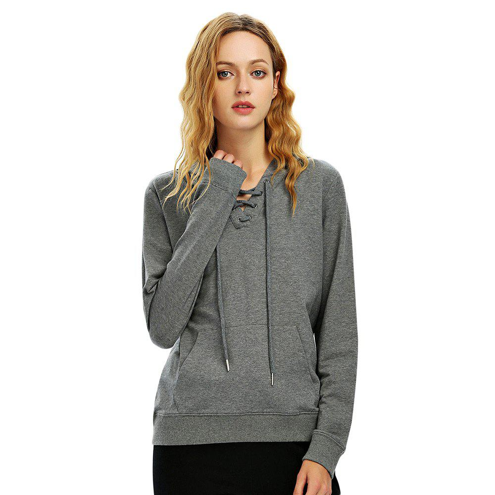 Female Autumn Casual Solid Color Lace-up Hooded Pullover Sweatshirt - DARK HEATHER GRAY XL