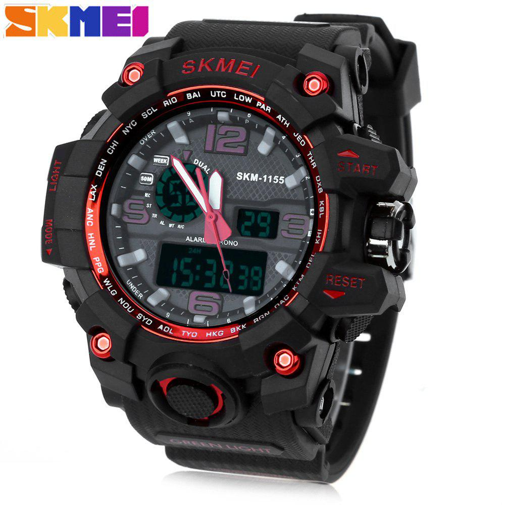 SKMEI 1155 Men Double Movement Watch Water Resistance Dual Time Day Alarm Light Wristwatch - RED