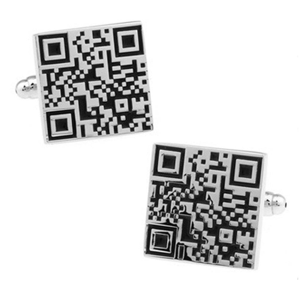Men's Alloy Creative Qr Code Cuff Links Stylish Cufflinks Accessory - BLACK