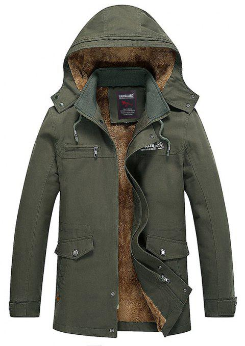 Men Winter Solid Warm Coat - ARMYGREEN L