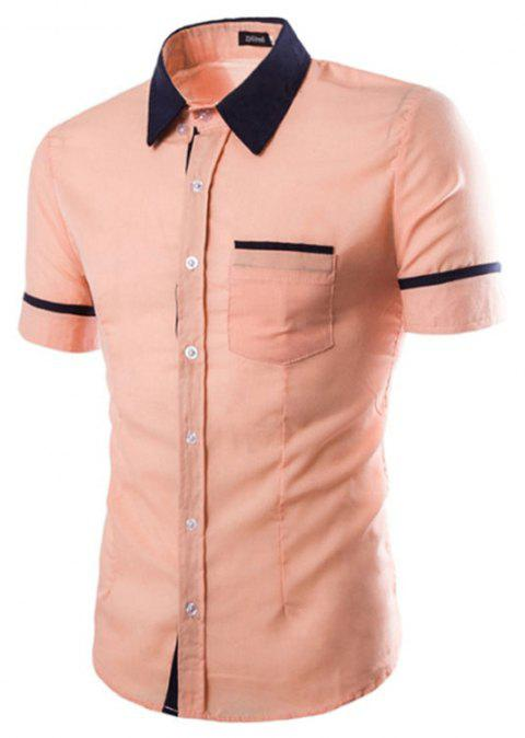 Men's Casual Short Sleeved Shirts - PINK L