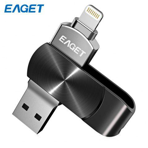 EAGET i66 USB Flash Drive Type-C USB3.0 OTG Rotary Design Memory Stick for iPhone 7 Plus / 7 / SE / 6S Plus / 6S / 6 / 5S / 5C / 5 - BLACK 128GB