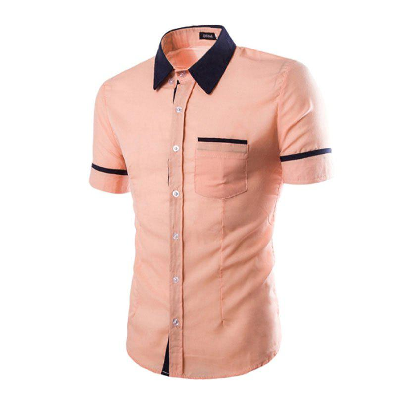 Men's Casual Short Sleeved Shirts - PINK XL
