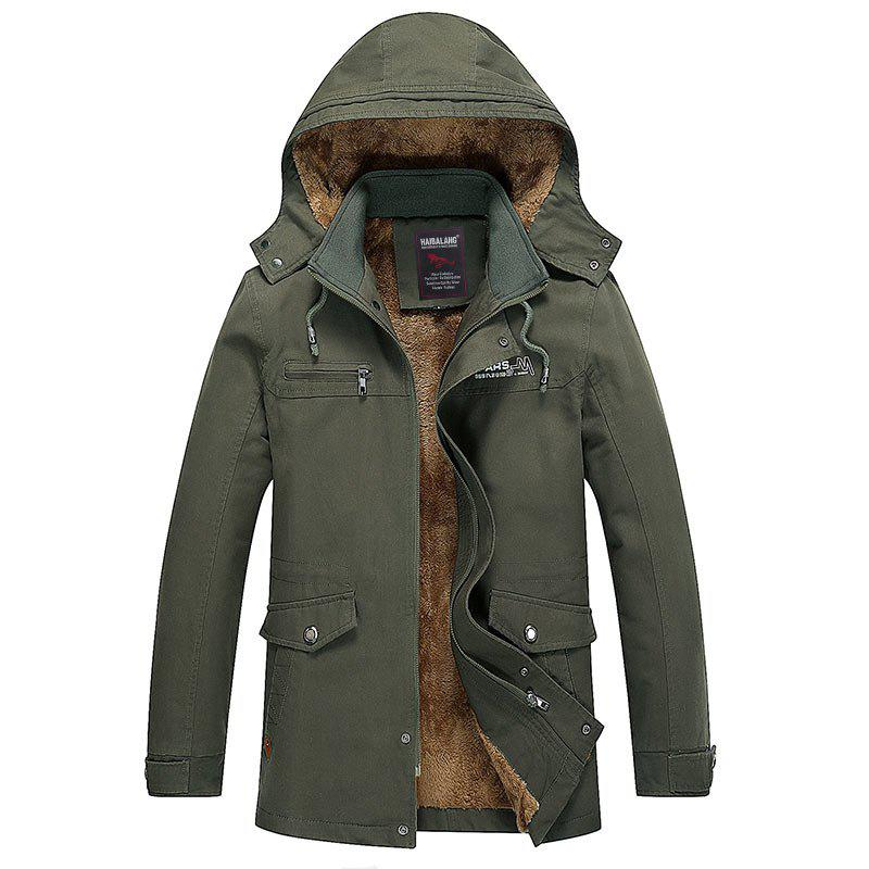 Men Winter Solid Warm Coat - ARMYGREEN 3XL