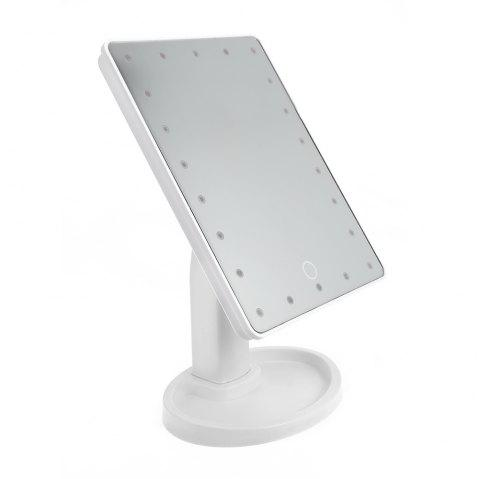 360 Degree Rotating LED Touch Screen Large Makeup Mirror - WHITE 22 LED LIGHTS