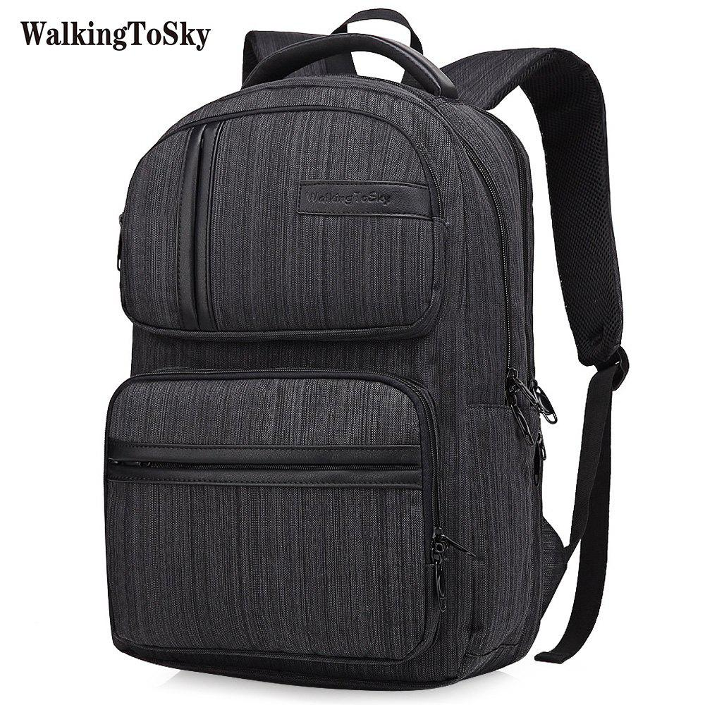 WalkingToSky Brand Backpacks for Men Women School Bag 15.6 Inch Computer Classic Business Bags Travel College - BLACK