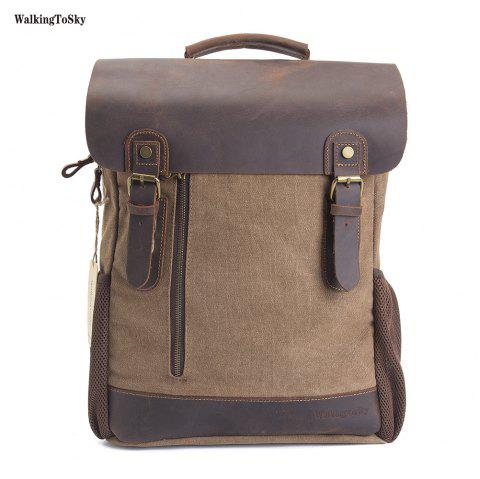 WalkingToSky Men Vintage Leather Canvas Backpacks Teenagers School Rucksack  for Outdoor Travel Daypack - KHAKI b381713b963e5