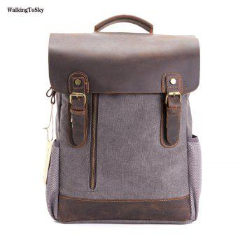 WalkingToSky Men Vintage Leather Canvas Backpacks Teenagers School Rucksack for Outdoor Travel Daypack - GRAY GRAY