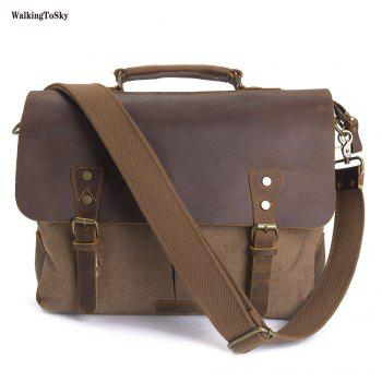 WalkingToSky Men Handbags 15.6 Inch Leather Vintage Messenger Shoulder Bag Canvas Satchel Laptops - COFFEE COFFEE