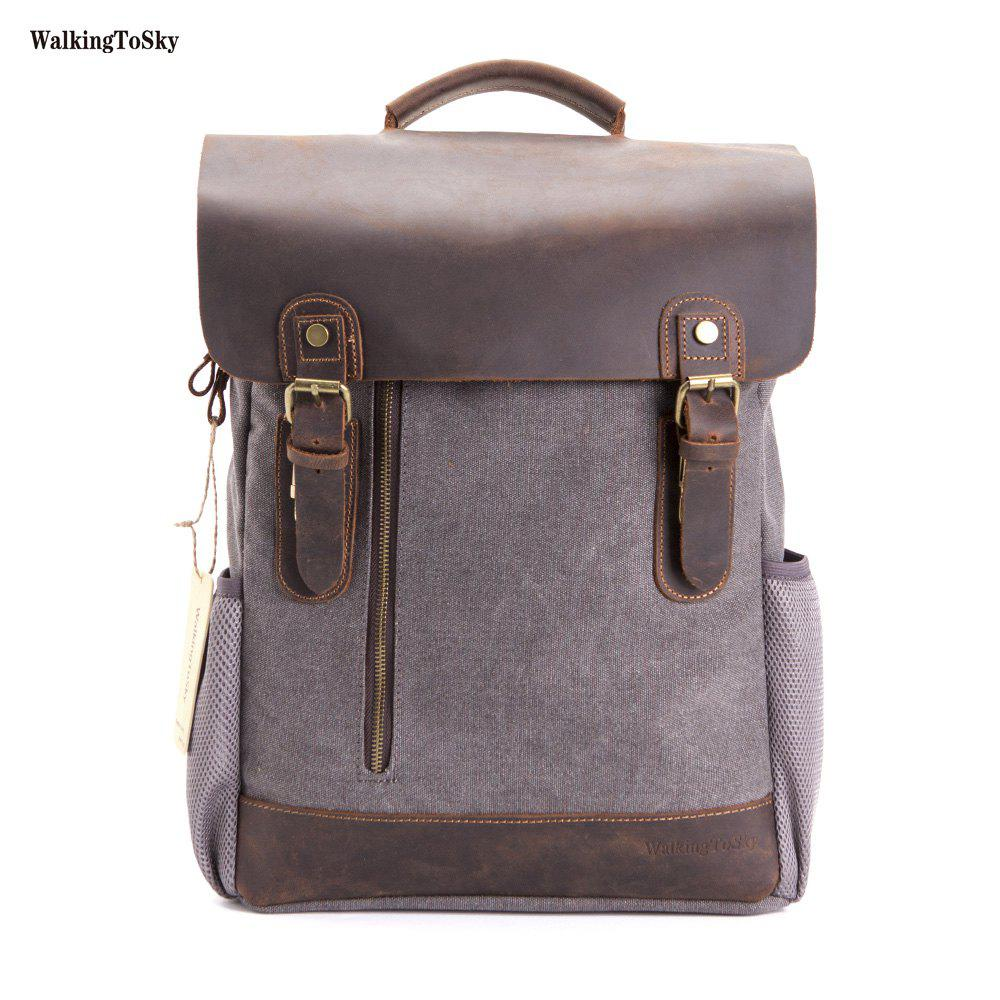 WalkingToSky Men Vintage Leather Canvas Backpacks Teenagers School Rucksack for Outdoor Travel Daypack - GRAY
