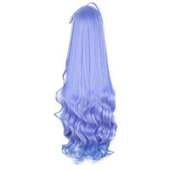 Mcoser Azur Lane Gradient Long Curly Wavy Anime Cosplay Wig - VIOLET BLUE