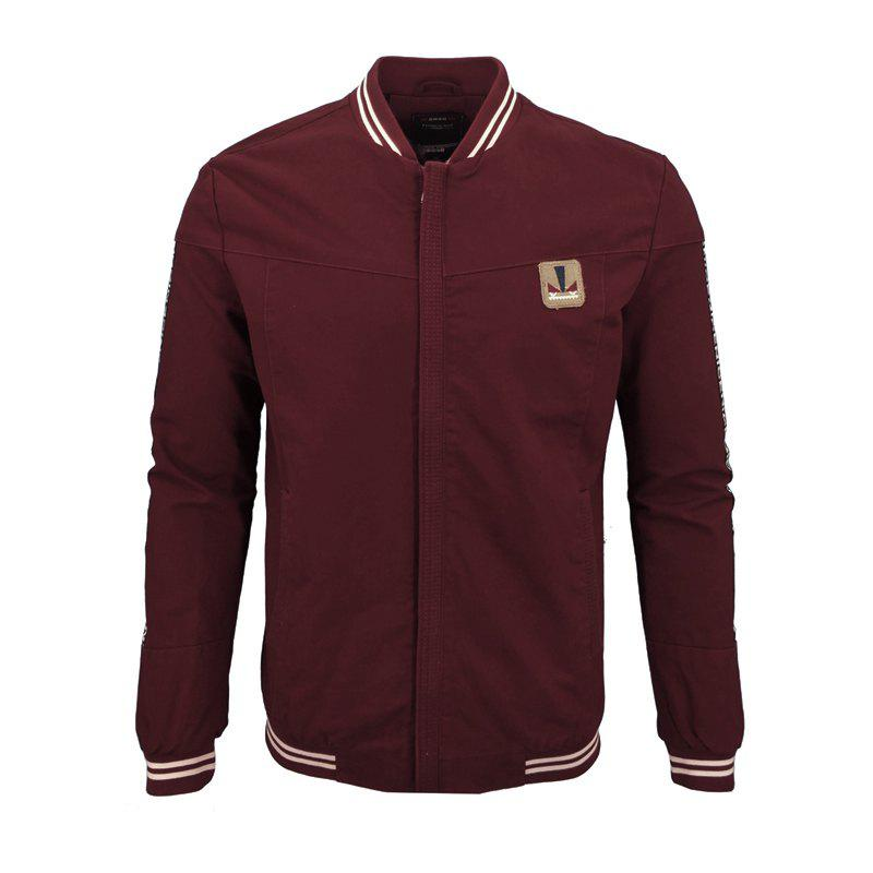 Men'S Autumn and Winter Casual Fashion Slim Baseball Uniform Collar Washing Jacket - BURGUNDY L