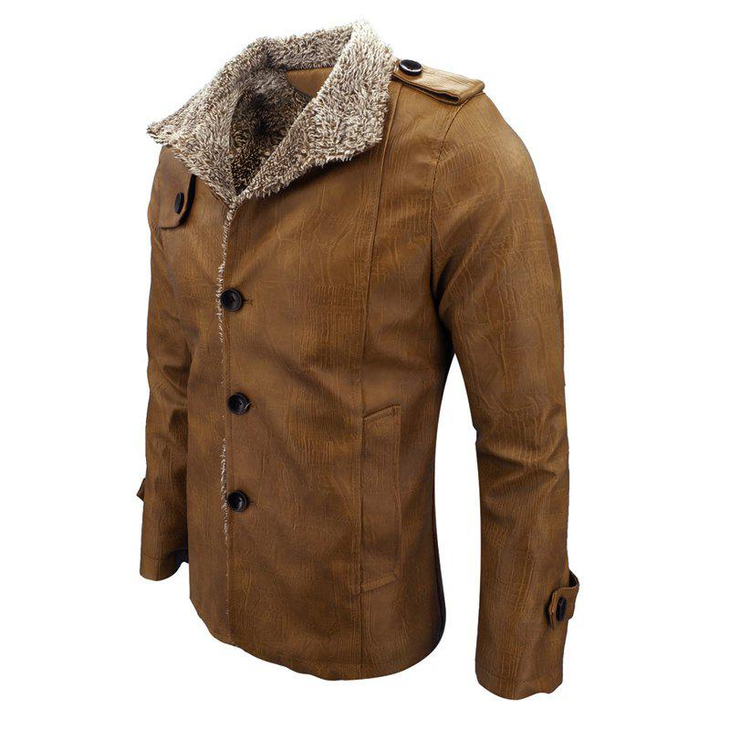 Men'S Wear in Autumn and Winter and Fur Coats of Men'S Fashion and Leisure - BROWN L