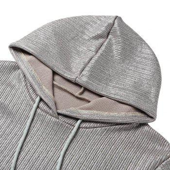 Trendy Hooded Short Sleeve Pocket Gloss Sliver Women Hoodie - SILVER L