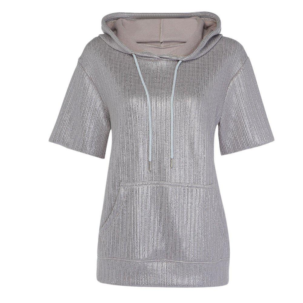 Trendy Hooded Short Sleeve Pocket Gloss Sliver Women Hoodie - SILVER 2XL