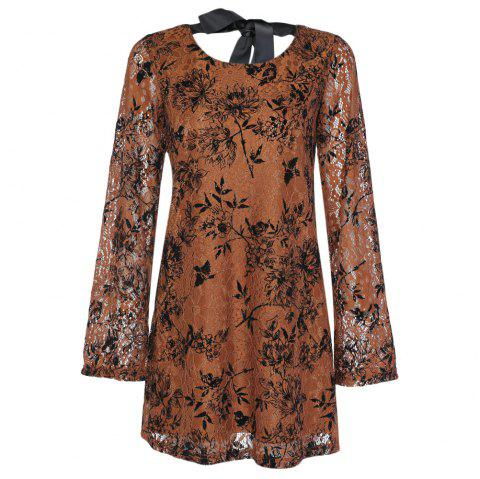 Trendy Round Collar Long Sleeve Lace Floral Print Tied Strap Women Dress - KHAKI 3XL