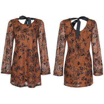 Trendy Round Collar Long Sleeve Lace Floral Print Tied Strap Women Dress - KHAKI 4XL