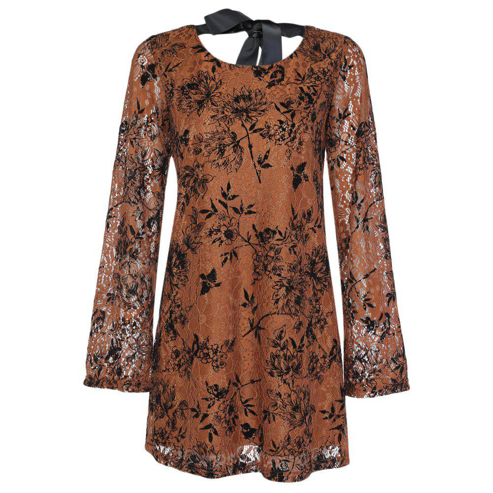 Trendy Round Collar Long Sleeve Lace Floral Print Tied Strap Women Dress - KHAKI L