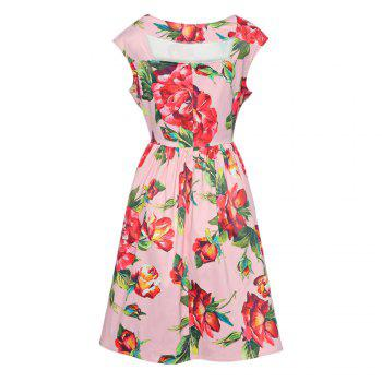 Trendy Boat Neck Cap Sleeve Floral Print A-line Zipper Women Dress - PINK PINK