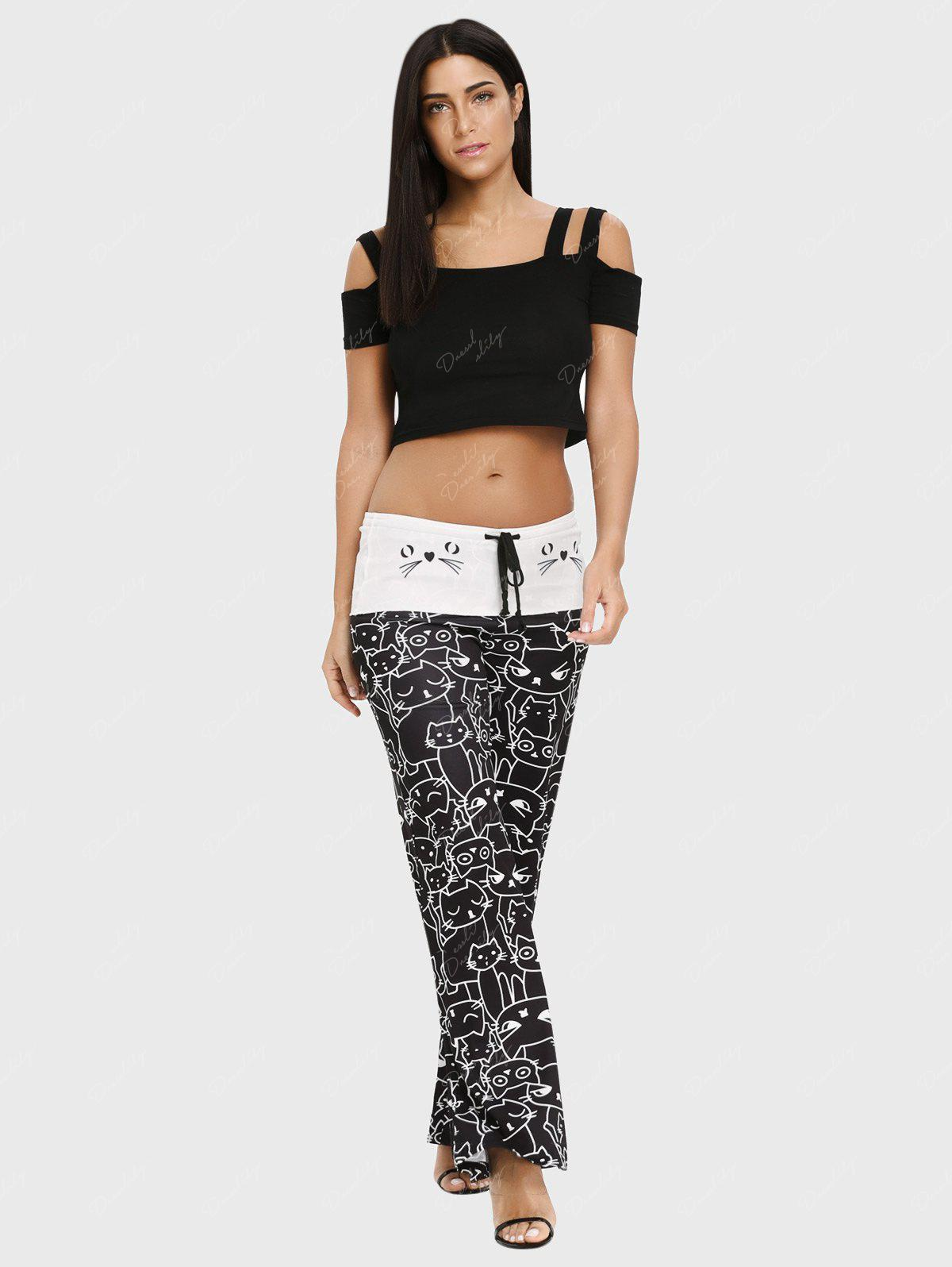 Trendy Mid Waist Cat Print Wide-leg Drawstring Women Long Pants - BLACK XL