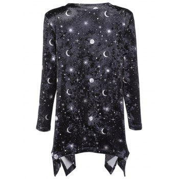Trendy V Neck Long Sleeve Moon Star Print Velour Asymmetric Women T-shirt - BLACK L
