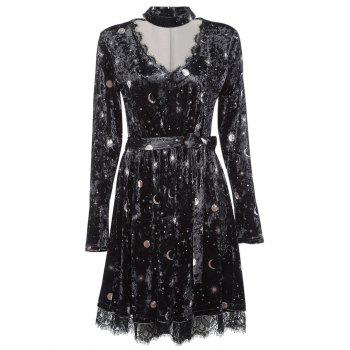 Trendy V Neck Long Sleeve Choker Spliced Lace Belted Moon Print Women Velour Dress