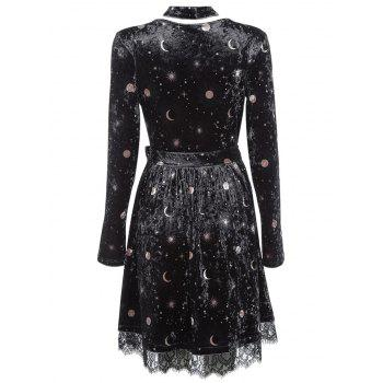 Trendy V Neck Long Sleeve Choker Spliced Lace Belted Moon Print Women Velour Dress - BLACK L