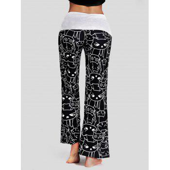 Trendy Mid Waist Cat Print Wide-leg Drawstring Women Long Pants - BLACK 2XL