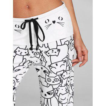Trendy Mid Waist Cat Print Wide-leg Drawstring Women Long Pants - WHITE M