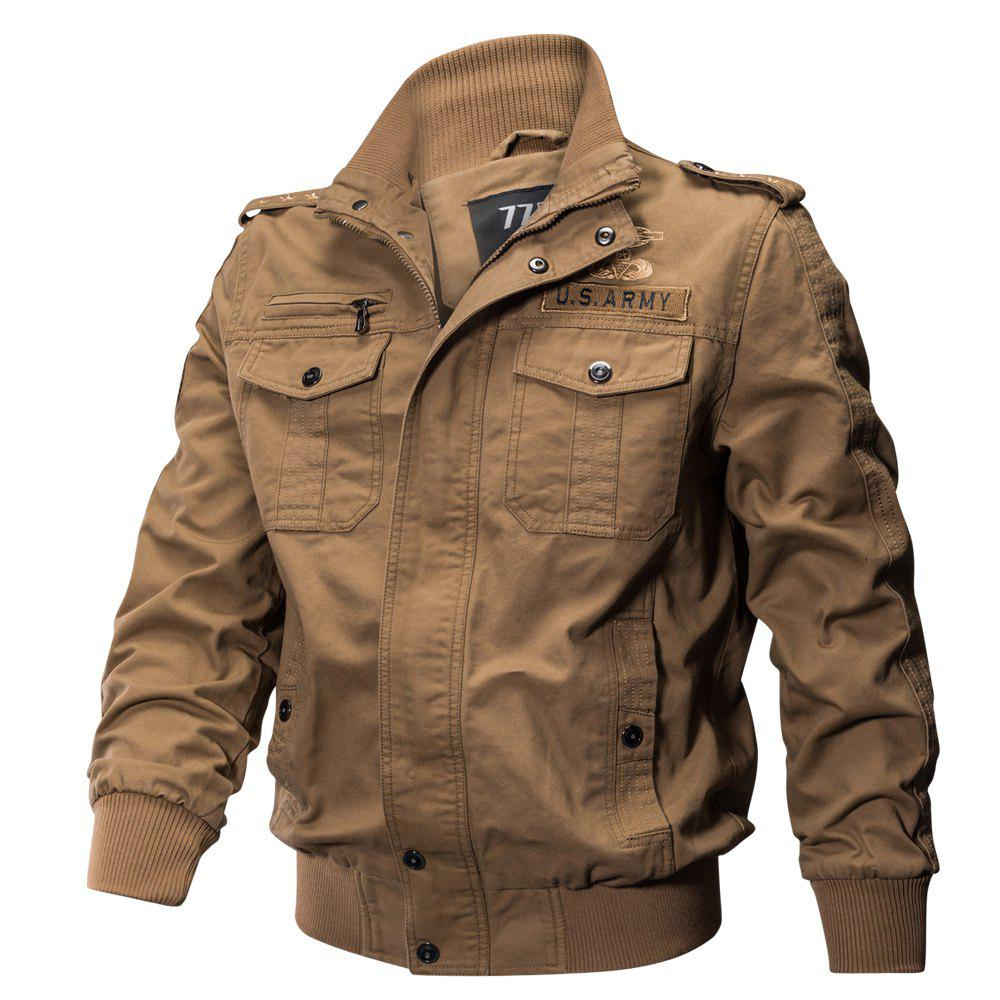Military Equipment Multi Pockets Cotton Coat - KHAKI L