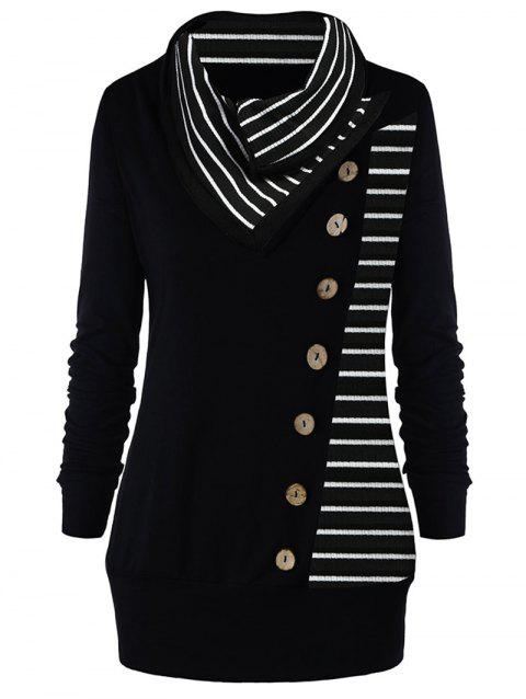 Trendy Turtleneck Long Sleeve Stripe Button Women Knitted T-shirt - BLACK L