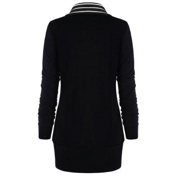 Trendy Turtleneck Long Sleeve Stripe Button Women Knitted T-shirt - BLACK S