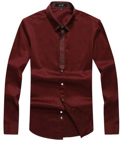 Autumn and Winter Men's Pure Color Leisure Fashion Blouse Professional Dress Shirt - WINE RED L