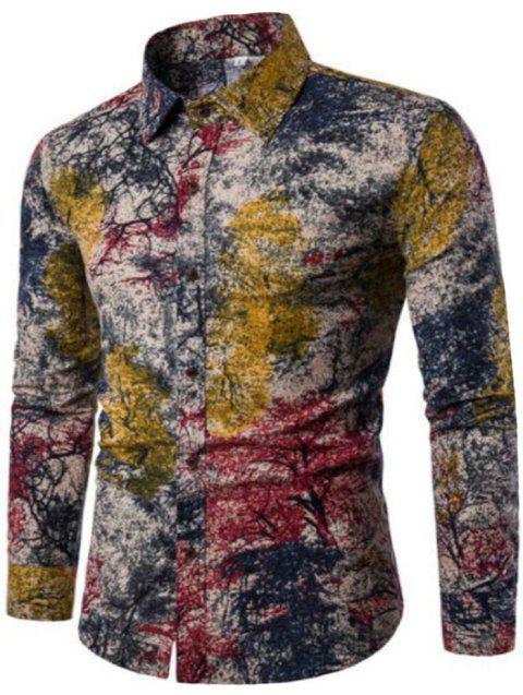 New Spring Men'S Long Sleeved Floral Shirt CS05 - RED M